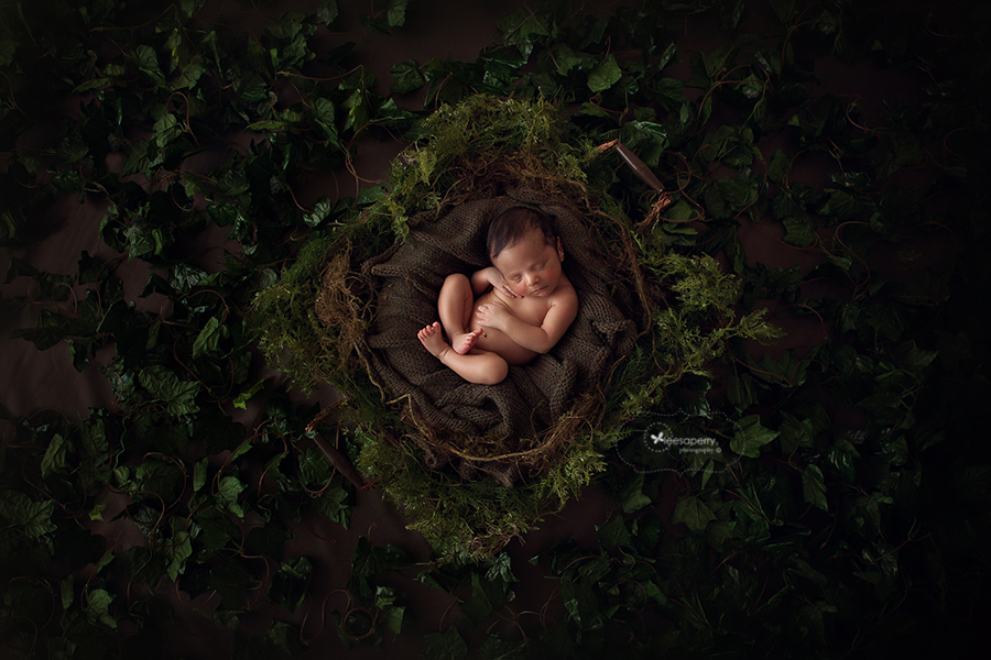 baby in green mossy nest